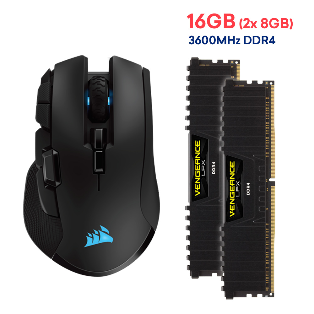 Corsair IRONCLAW RGB WIRELESS Gaming Mouse and Vengeance LPX 16GB 3600Mhz  DDR4 Desktop Ram