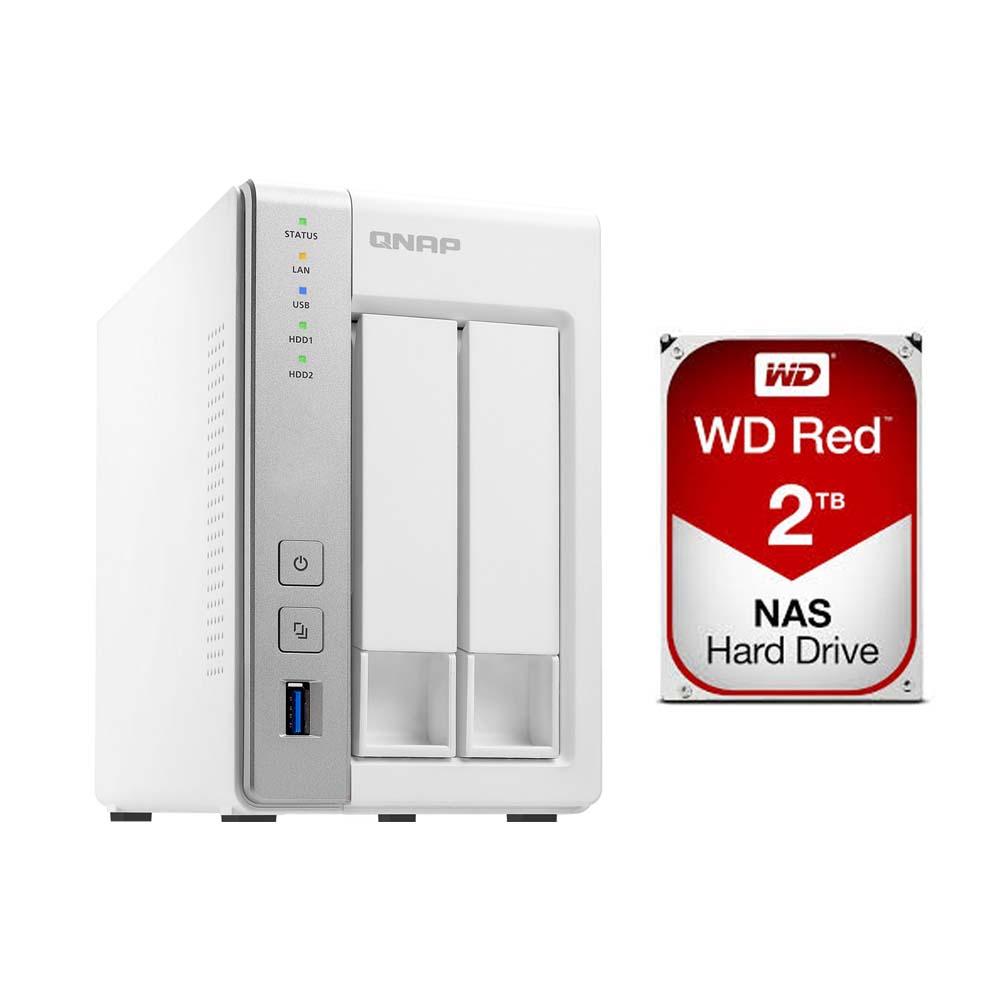 QNAP TS-231P 2 Bay NAS & WD 2TB Red