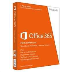 Microsoft Office 365 Home Premium 1 License Medialess For 1 Year 5 Macs or PCs 6GQ-00017