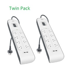 Belkin 8 Outlet Surge Board 2M 2xUSB port (2 Pack)